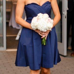 Strapless Navy Scalloped Sweetheart Dress